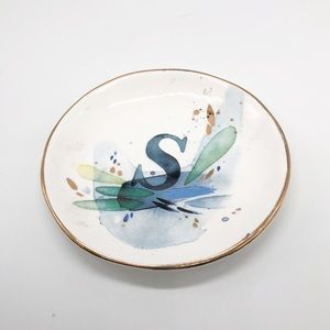 S Initial Anthropologie Abstract Jewelry Dish